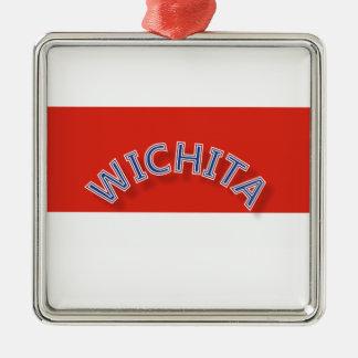 Wichita Red and White Premium Square Ornaments