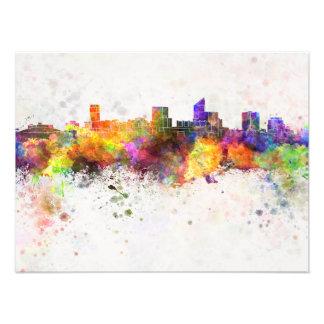 Wichita skyline in watercolor background photo print