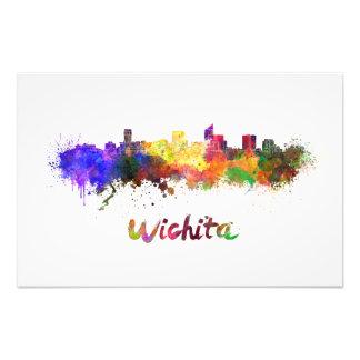 Wichita skyline in watercolor photo art