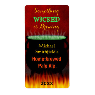 Wicked Brew Halloween Cauldron with Fire Beer Shipping Label