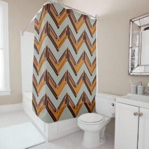 Wicked Chevron In Gold Shower Curtain