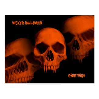 Wicked Halloween skulls Postcard