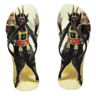 Wicked Krampus Scary Demon Holiday Christmas Xmas Flip Flops