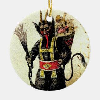 Wicked Krampus Scary Demon Holiday Christmas Xmas Round Ceramic Decoration
