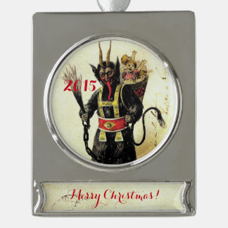 Wicked Krampus Scary Demon Holiday Christmas Xmas Silver Plated Banner Ornament