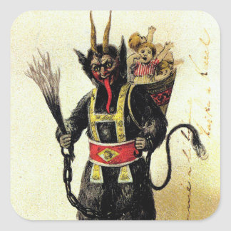Wicked Krampus Scary Demon Holiday Christmas Xmas Square Sticker