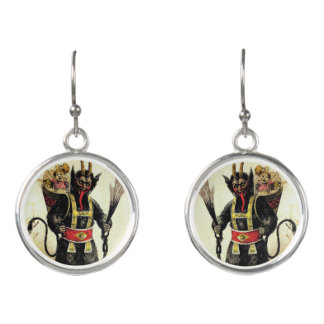 Wicked Krampus Scary Demon Xmas Christmas Earrings