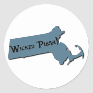 Wicked Pissa Massachusetts Classic Round Sticker