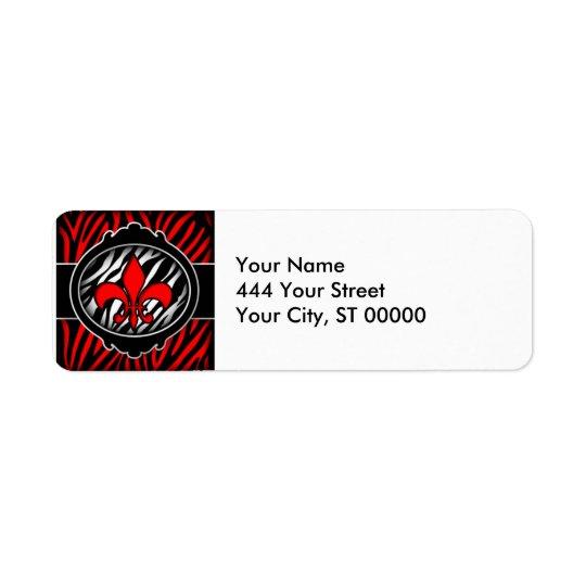 wicked red zebra fleur de lis symbol return address label