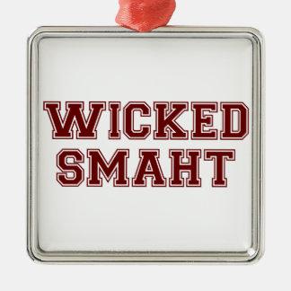 Wicked Smart (Smaht) College Boston Silver-Colored Square Decoration