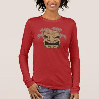 Wicked Tiki Carving Ladie's Dark Long Sleeve Shirt