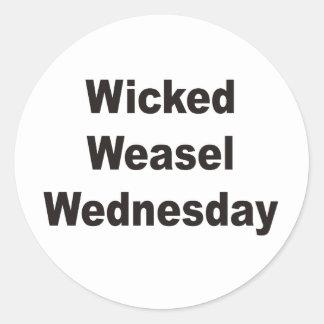 Wicked Weasel Wednesday Round Sticker