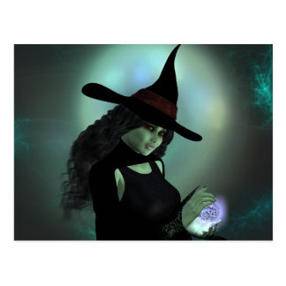 Wicked Witch Casting a Spell Postcard