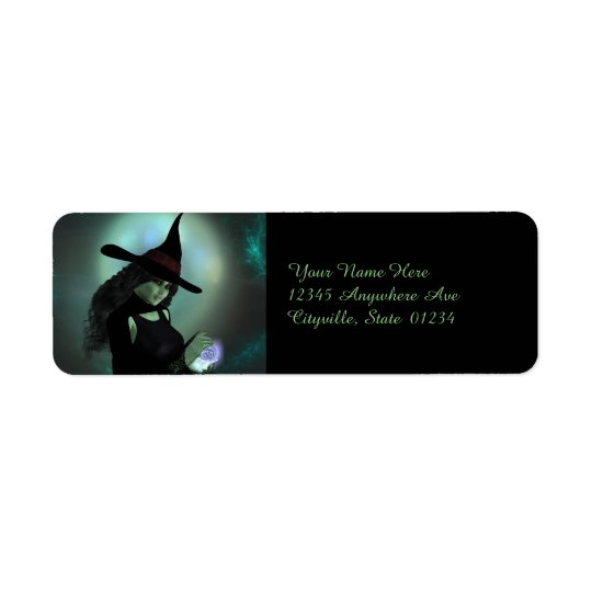Wicked Witch Casting a Spell Return Address Label