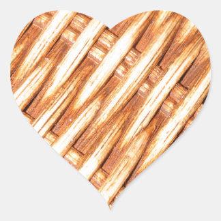 Wicker background heart sticker