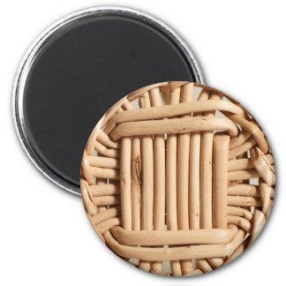 Wicker basket closeup 6 cm round magnet