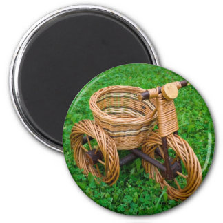 Wicker Basket Furniture In A Bike Shape On The Gra 6 Cm Round Magnet