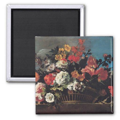 Wicker Basket of Flowers Fridge Magnets