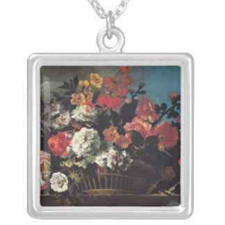 Wicker Basket of Flowers Silver Plated Necklace