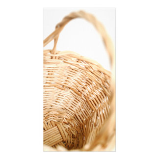 Wicker basket on white background photo greeting card