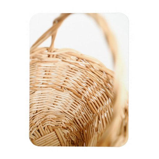 Wicker basket on white background rectangle magnet
