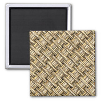 Wicker Basket Square Magnet