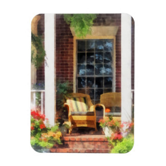 Wicker Chair With Striped Pillow Flexible Magnet