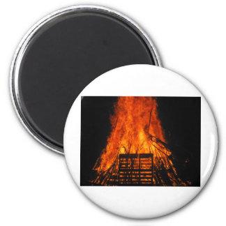 Wicker fire 6 cm round magnet