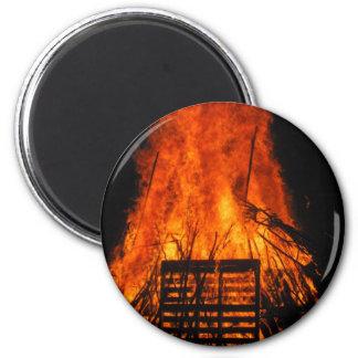 Wicker fire fridge magnets