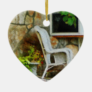 Wicker Rocking Chair on Porch Christmas Ornament