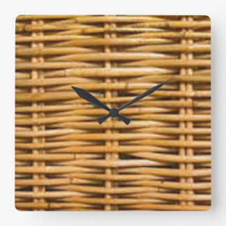 Wicker Square Wall Clock