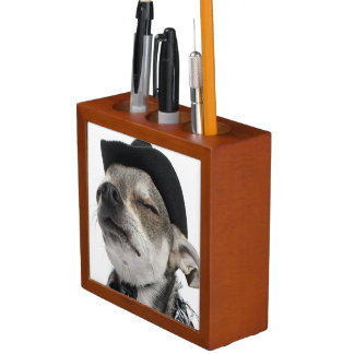 Wide-angle of a Chihuahua with his eyes closed Desk Organiser