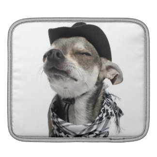 Wide-angle of a Chihuahua with his eyes closed iPad Sleeve