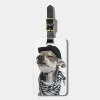 Wide-angle of a Chihuahua with his eyes closed Luggage Tag
