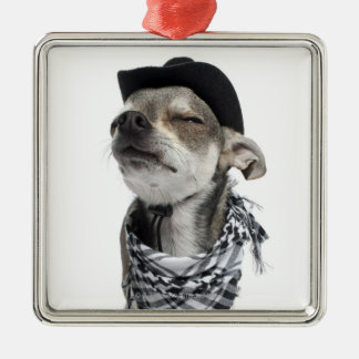 Wide-angle of a Chihuahua with his eyes closed Silver-Colored Square Decoration