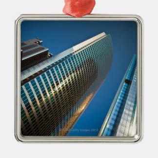 Wide-angle shot looking up at gleaming glass christmas tree ornament