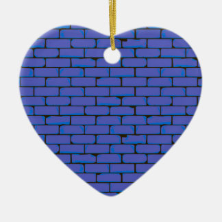 Wide Blue Wall Background Ceramic Heart Decoration