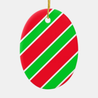 Wide Christmas Stripes Ceramic Oval Decoration