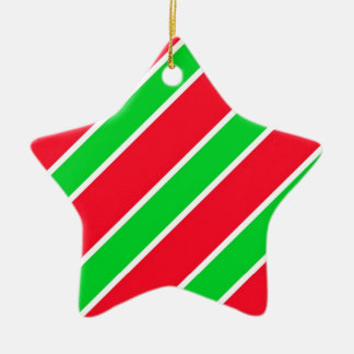 Wide Christmas Stripes Ceramic Star Decoration