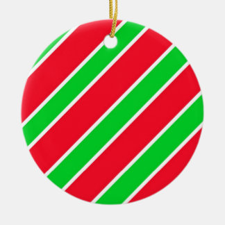 Wide Christmas Stripes Double-Sided Ceramic Round Christmas Ornament