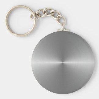 wide circular steel basic round button key ring