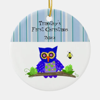 Wide-Eyed Owl Baby's First Christmas Round Ceramic Decoration