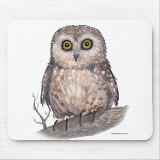 Wide Eyed Owl Wildlife Watercolor Art Mouse Mat