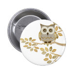 Wide Eyes Owl in Tree 6 Cm Round Badge