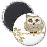 Wide Eyes Owl in Tree 6 Cm Round Magnet