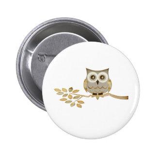 Wide Eyes Owl in Tree 6 Cm Round Badge