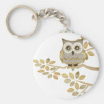 Wide Eyes Owl in Tree Basic Round Button Key Ring