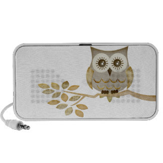 Wide Eyes Owl in Tree Doodle Notebook Speakers