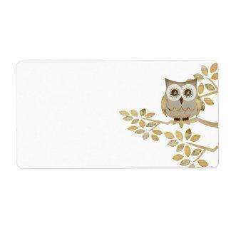 Wide Eyes Owl in Tree Label