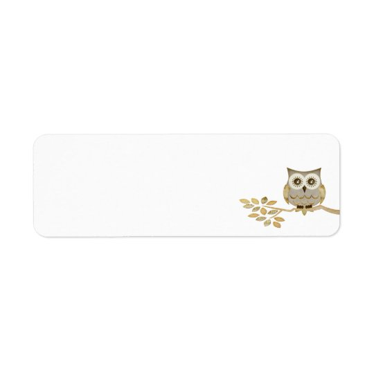 Wide Eyes Owl in Tree Label Return Address Label